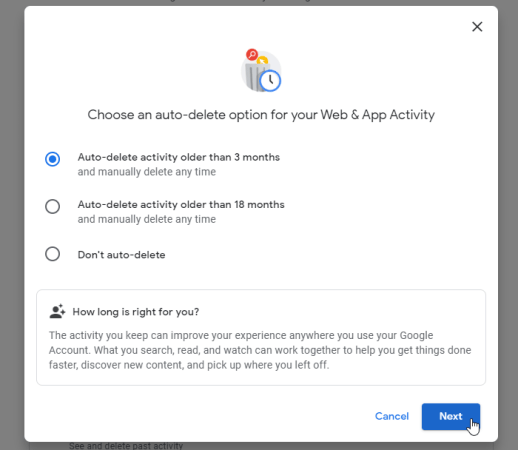 How to auto-delete Google Web & App, Location and YouTube History