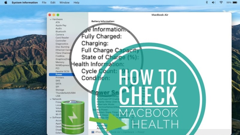 how to check macbook battery health and charge cycles