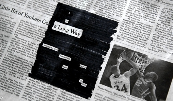 I fell a long way. Austin Kleon blackout poem.
