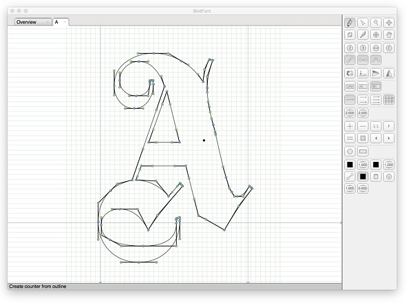 Bird font editor running on Yosemite