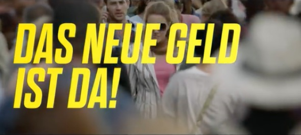 "Full blow, more direct German version of Paypal tv ad puts focus on ""The new money is here!"""