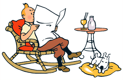 Enjoy reading (Hergé's ligne claire)
