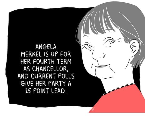 Angela Merkel is up for her fourth term as chancellor, and current polls give her party a 14 point lead.