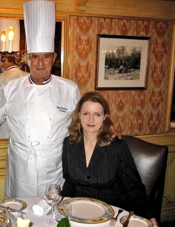 "Paul Bocuse with Petra Hammerstein (iconic food blog ""The Courage of Others"") at L'Auberge in Lyon, France."