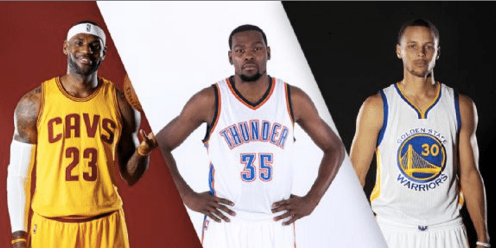 Image result for lebron james stephen curry and kevin durant