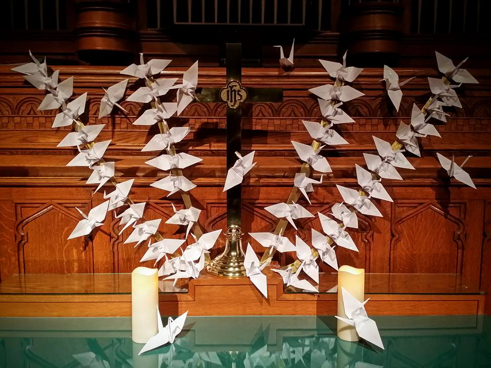 Newark FUMC Altar with paper deco