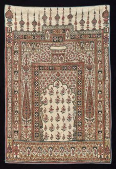 Prayer Cloth with Mihrab, Gate and Floral Motifs (lower right) Iran, Qajar Period (1789—1925) Hand-painted and block printed cotton Newark Museum Gift of Dr. Louis C. West, 1967 67.417
