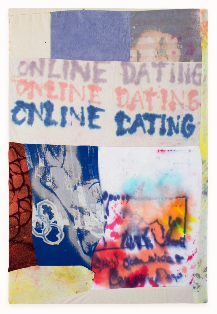 Georganna Greene's Online Dating Dye and bleach on canvas and repurposed fabric