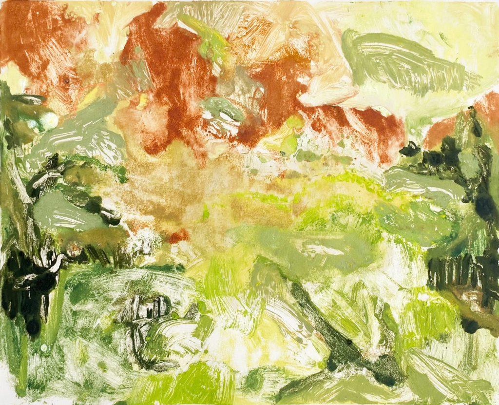 Iwalani Kaluhiokalani's A Roll Gathers No Moss Oil on paper monotype