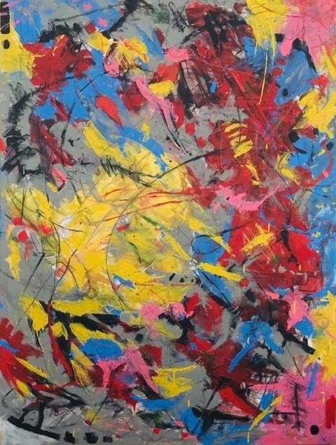 Paula Moser's Steffen Nantucket Acrylic, acrylic pen, charcoal, graphite crayon on canvas