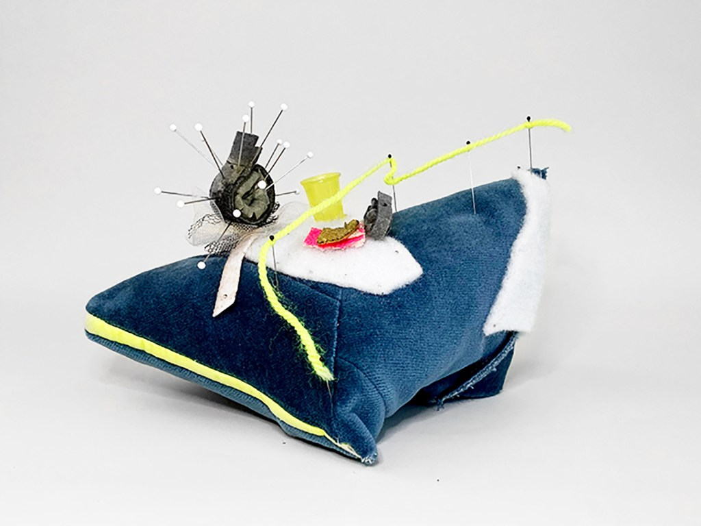 Diana Jean Puglisi's Pincushion III (Neon Line) Velvet, thread, industrial felt, resin casted thimble, tulle, yarn, dressmaker pins, insect pins, upholstery pin, interfacing fabric, acrylic paint