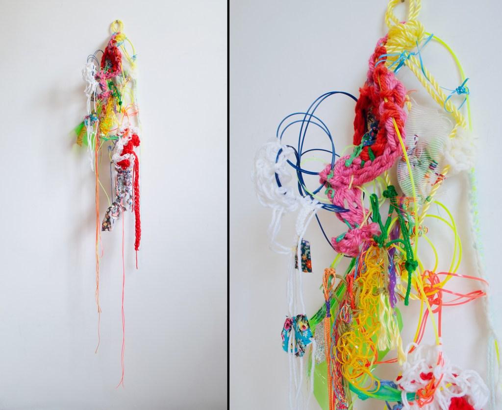 Loretta Park's Yellow Line/Loop Rope, trimmer line, plastic lacing, yarn, threads, fabrics, hot glue, vinyl screw