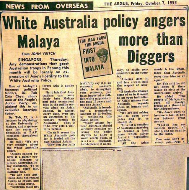 White Australia policy angers Malaya more than Diggers1_664344_tcm11-18707