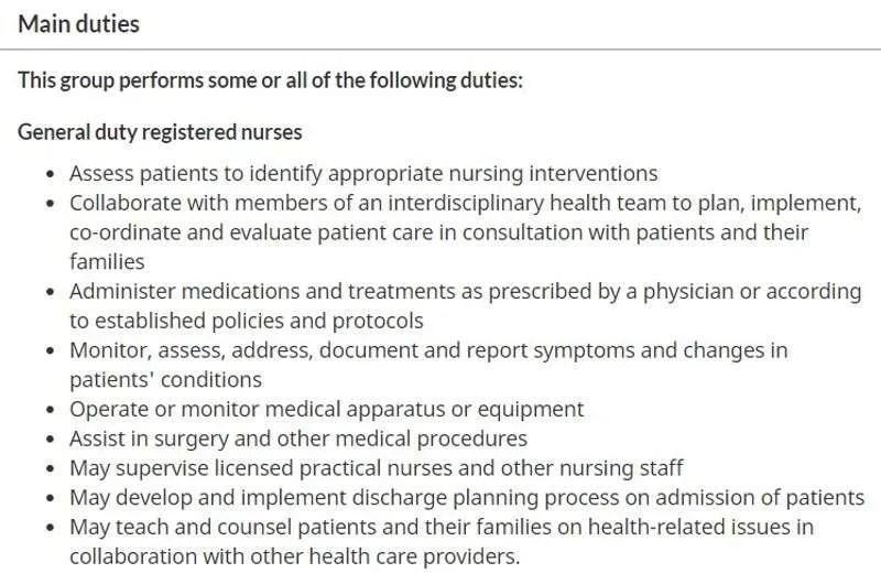 registered nurse pricipais funcoes
