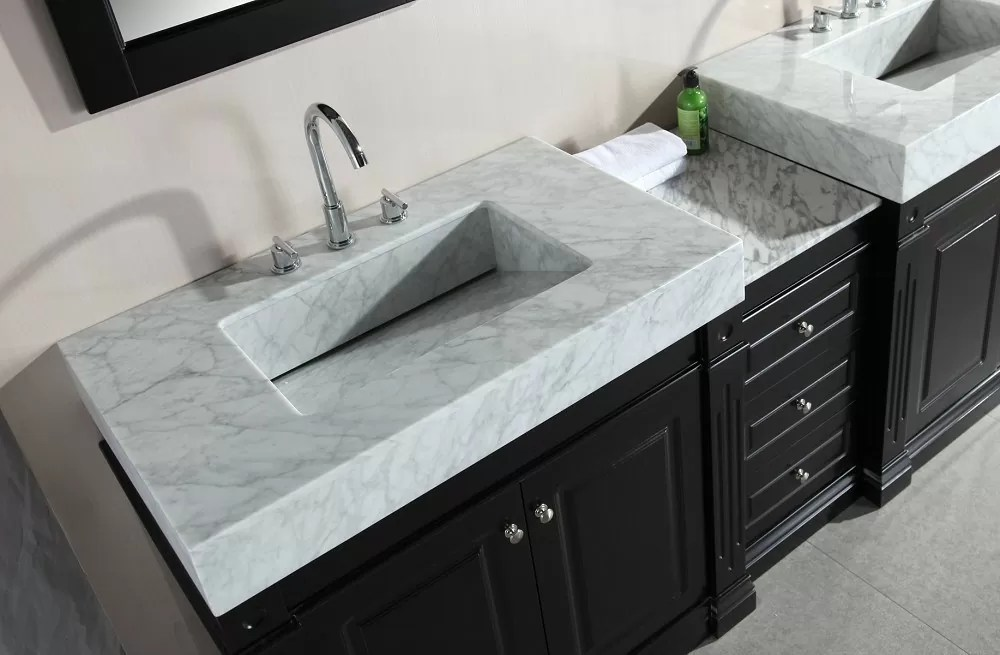 odyssey 88 double sink vanity set with trough style sinks design element dec101 new bathroom style