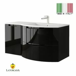 La Toscana 43 Inch OASI Modern Bathroom Vanity drawers left Black