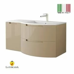 La Toscana 43 Inch OASI Modern Bathroom Vanity drawers left Glossy Sand OA43OPT3GS