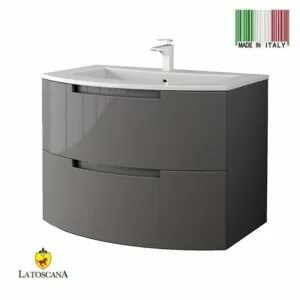 LaToscana Oasi 29 inch Modern Bathroom Vanity Glossy Slate with 2 Slow Close Drawers and Tekorlux Sink Top OA29OPT1T