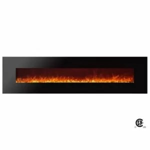 Royal Series - Electric Wall Mount Fireplace with Pebbles - 95 inch