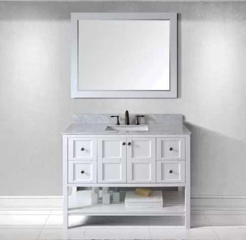 "Virtu USA 48"" Winterfell SINGLE Square Sink Bathroom Vanity in White with Italian Carrara Marble Top ES-30048-WMSQ-WH-002"