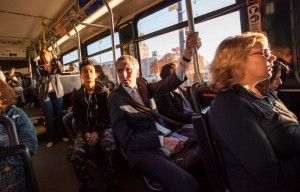 On the bus in Portland, Oregon, on way to a meeting with leaders of the Irish American community in the city. Picture by Donal McCann - www.donalmccann.com