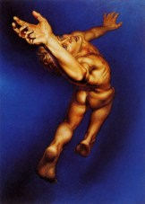 Oil painting of an ascending male nude figure through space.
