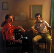 A Writer and An Artist, 1982, oil on linen, 60 x 60 inches
