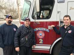 Newburyport firefighters, left to right, John Stomboly, Robert Morse and Joshua Mesina helped to deliver a baby at Station 2 Thursday afternoon, Jan. 11. (Newburyport Fire Department)