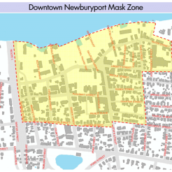 Masks or face coverings will be required in the downtown areas highlighted in yellow. (Photo courtesy of the City of Newburyport)