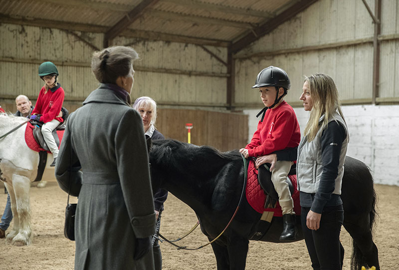 HRH talking to rider, Oliver McBeth