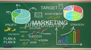 Marketing idea sketching on green chalk board