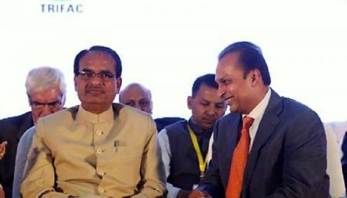anil ambani with chief minister of madhyapradesh shivraj singh chouhan