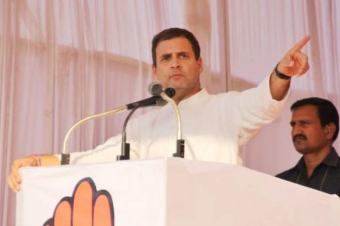 congress president rhaul gandhi during his rally at kabirnagar in chhattisgarh