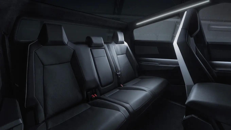 Tesla Cybertruck Electric Pickup Truck Interior Rear Seats