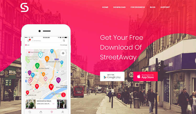 Download the StreetAway app on iOS or Android