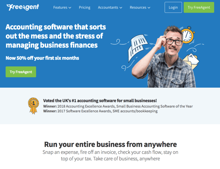FreeAgent - accounting software that sorts out the mess and the stress of managing business finances.