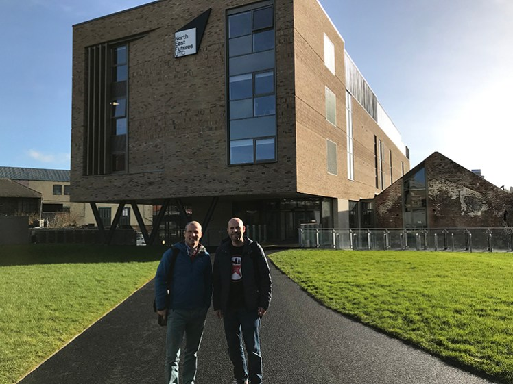 Ben Mason (Founder & CEO, globalbridge) and Paul Lancaster (Founder & Event Producer, Newcastle Startup Week) outside the North East Futures UTC
