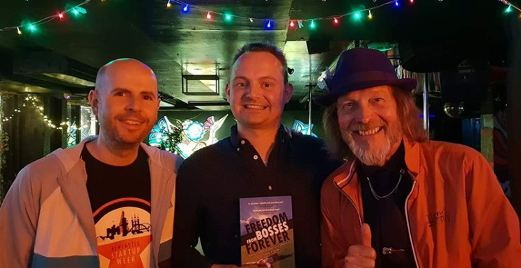 Paul Lancaster, Jon Waite & Tony Robinson OBE at the Day 2 after party for Newcastle Startup Week 2018