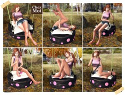 Playful Tire Swing Green Single Poses CHEZ MOI