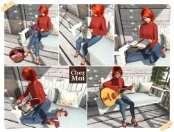 Watercolor Bench Porch Activities F CHEZ MOI