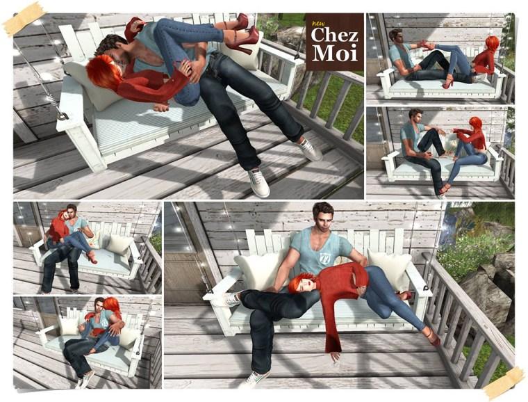 Watercolor Bench Porch Couple 2 Poses CHEZ MOI