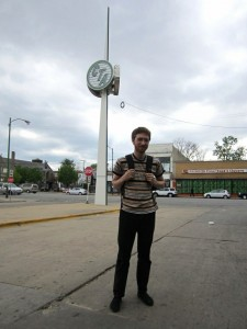 Danny Resner by the decorative spire at Ashland/63rd / Photo: John Greenfield