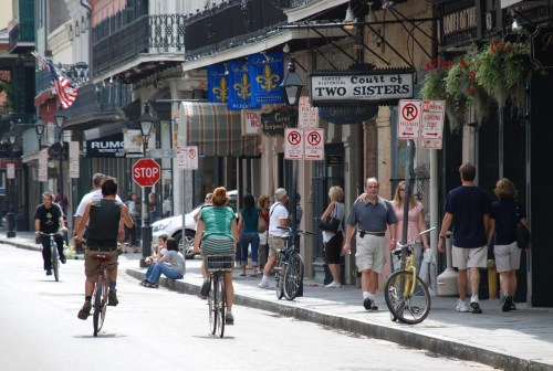 Biking on Bourbon Street. Photo: Dan Jatres