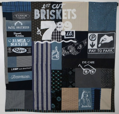 """Devon Avenue Sampler: Pay to Park?""Acrylic paint on hand sewn quilt 60 x 60 in. 2011"