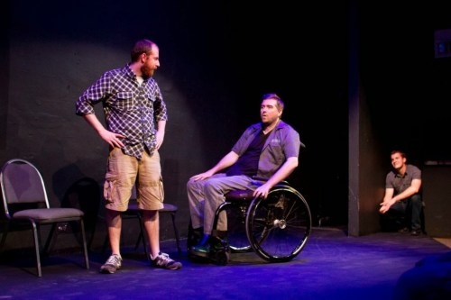 The Gift Theatre artistic director and ensemble member Michael Patrick Thornton and Natural Gas artistic director Kyle Zornes in YOU & ME presented by The Gift Theatre's in-house improv team Natural Gas at The Den Theatre;