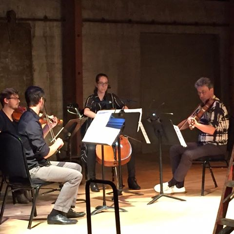 The Formalist Quartet performing featured composer Erik Ulman's string quartet at Art Share