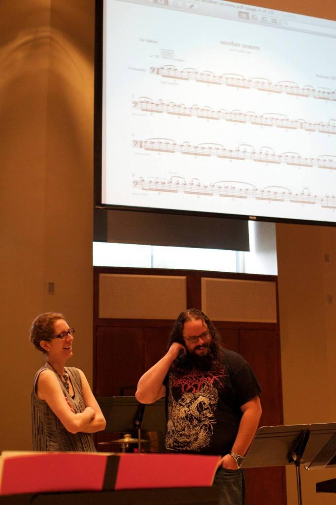 Cellist Ashley Walters and composer Nicholas Deyoe