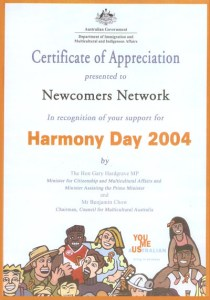 2004 Certificate of Appreciation for participating in Harmony Day