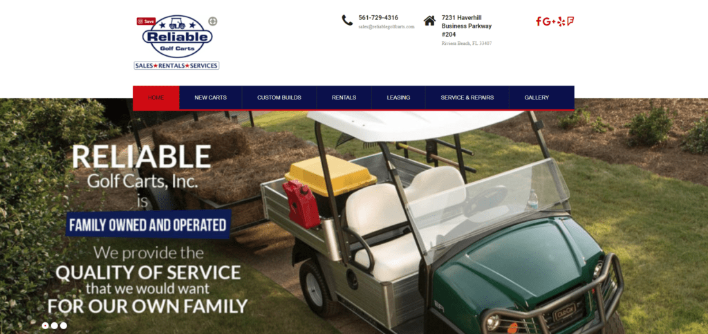 Website Redesign Reliable GolfCarts