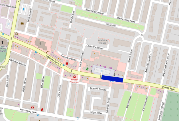 Map of Adelaide Terrace showing our proposed location for a bus gate to remove through traffic from the shopping street.